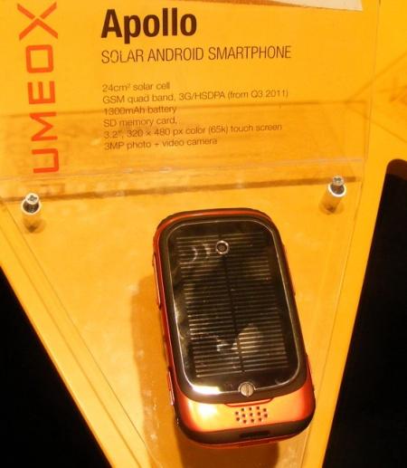 Анонсы Mobile World Congress: Umeox Apollo - Android-смартфон на солнечной батарейке - Мир мобильных новостей