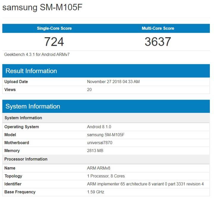 Samsung Galaxy M10 появился на Geekbench, M20 на AnTuTu новое семейство медиум-смартфонов